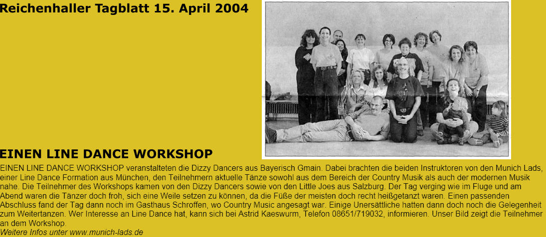Reichenhaller Tagblatt 15. April 2004 EINEN LINE DANCE WORKSHOP